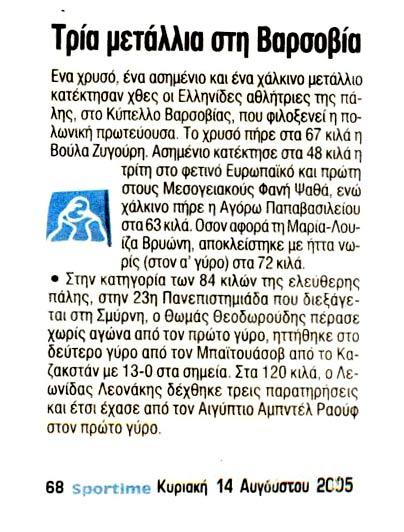 Βούλα Ζυγούρη - Sportime-14-8-05