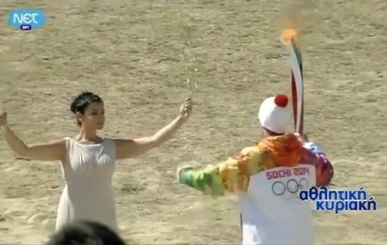 Αφή φλόγας χειμερινοί ολυμπιακοί αγώνες Sochi - Βούλα Ζυγούρη