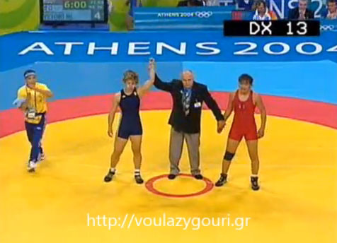 Athens 2004 Olympics Wrestling - Women 72kg Elimination - Pool B - OCHIRBAT Burmaa - VRYONI Maria Louiza  - August 22, 2004