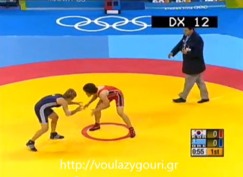Athens 2004 Olympics Wrestling - Women 55kg Pool Elimination - Pool D - LEE Na Lae  - POUMPOURIDOU Sofia - August 22, 2004